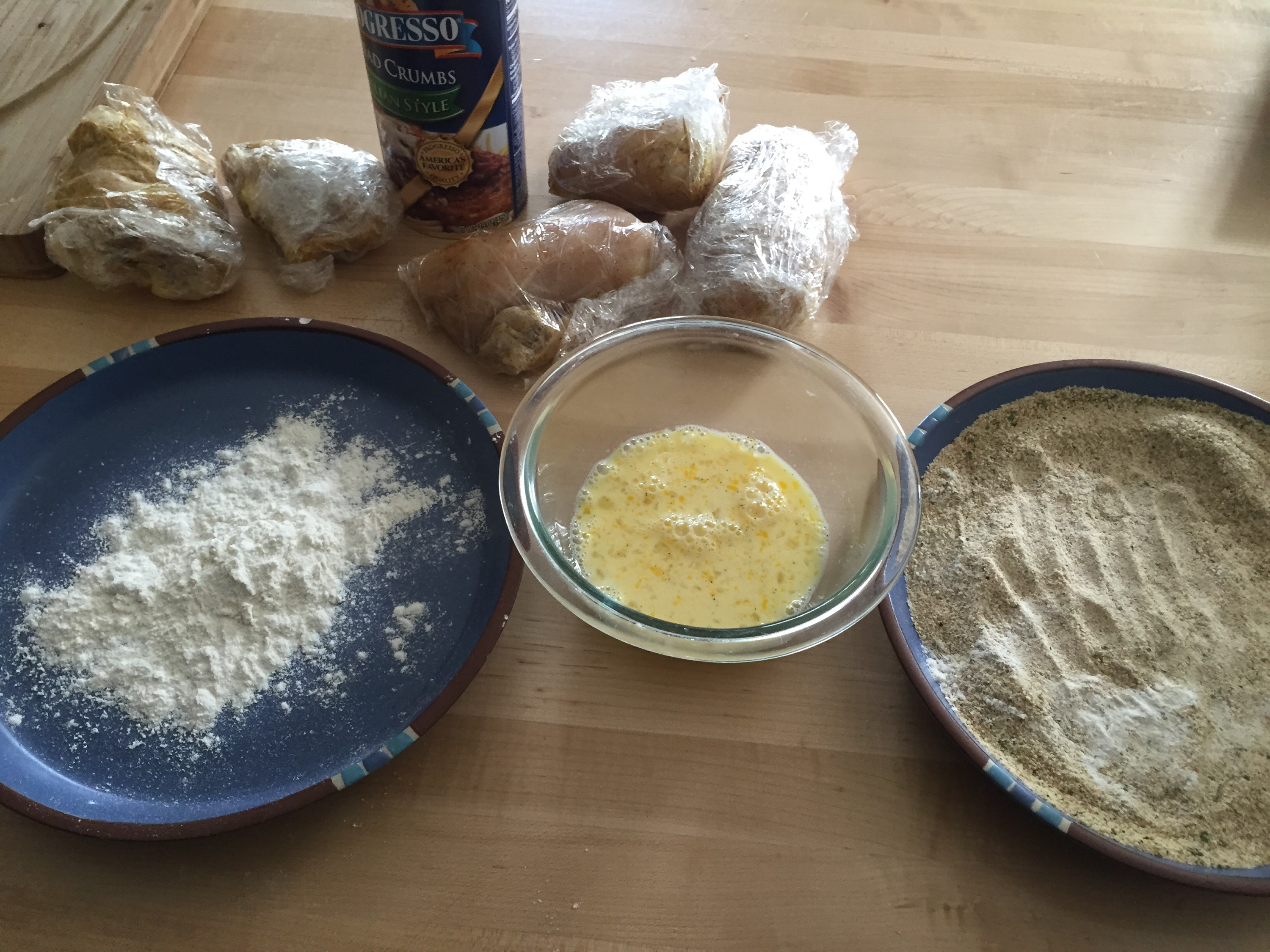 Flour-eggs-bread crumbs and repeat