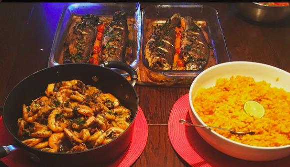Egyptian seafood dinner